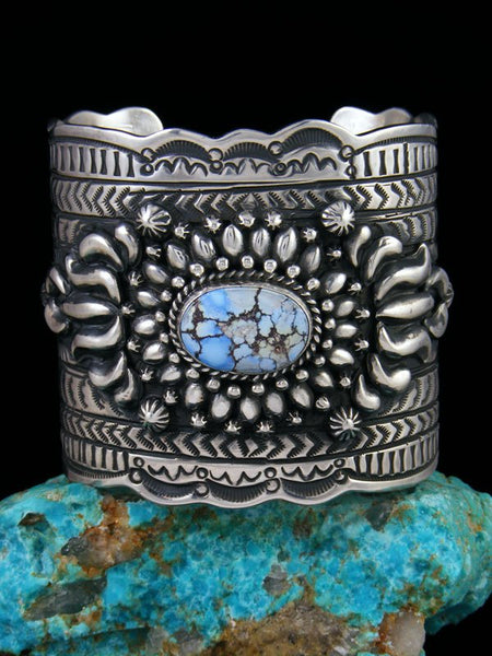 Native American Indian Sterling Silver Golden Hill Turquoise Bracelet