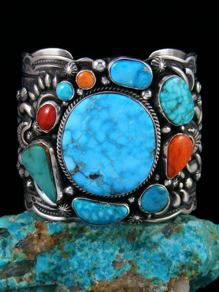 Native American Sterling Silver Kingman Turquoise Picasso Bracelet