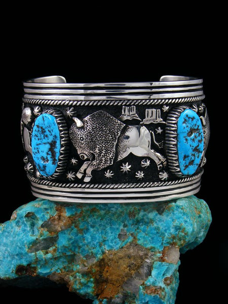 Large Native American Indian Buffalo Overlay Kingman Turquoise Cuff Bracelet