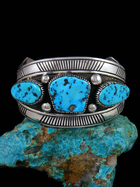 Large Native American Indian Overlay Kingman Turquoise Cuff Bracelet
