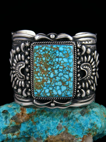 Native American Indian Sterling Silver Birdseye Turquoise Cuff Bracelet