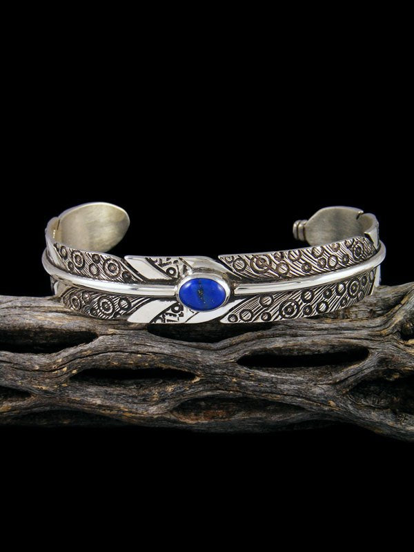 Navajo Sterling Silver Lapis Feather Cuff Bracelet