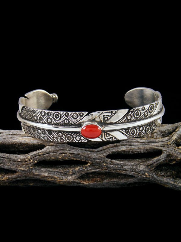 Navajo Sterling Silver Coral Feather Cuff Bracelet