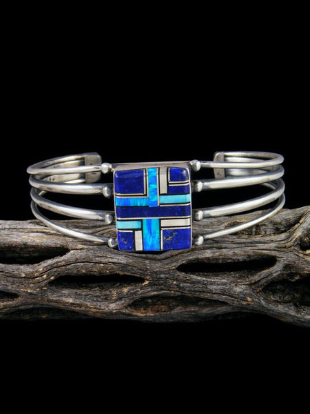 Navajo Sterling Silver Opal and Lapis Inlay Cuff Bracelet