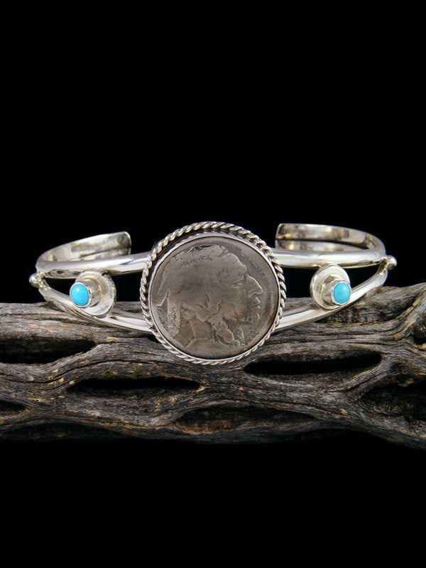 Native American Jewelry Turquoise and Indian Head Nickel Cuff Bracelet