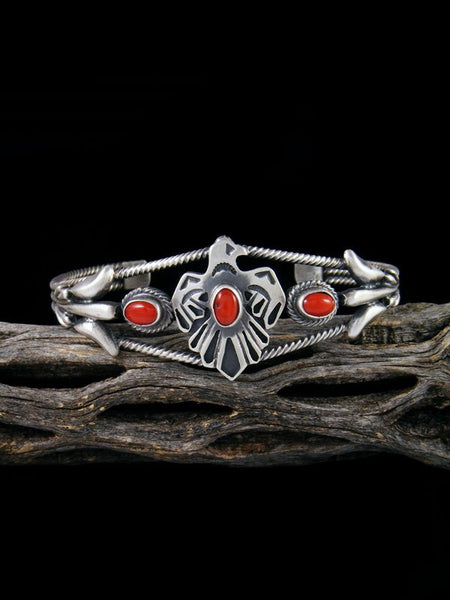 Native American Sterling Silver Coral Thunderbird Cuff Bracelet
