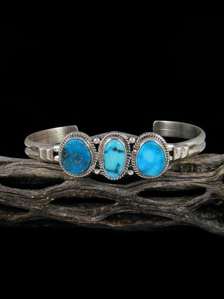 Native American Bluebird Turquoise Sterling Silver Cuff Bracelet