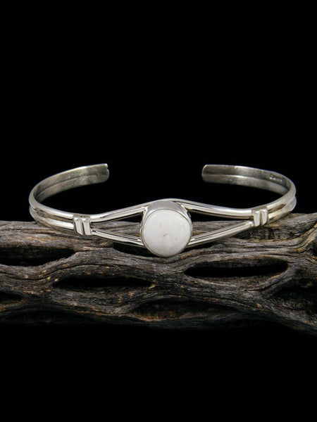 Native American White Buffalo Sterling Silver Cuff Bracelet