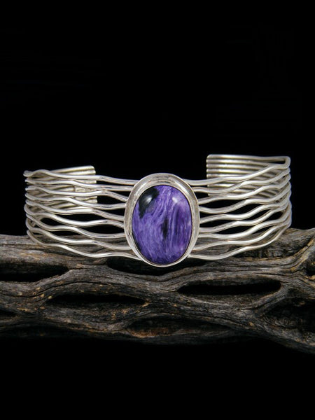 Native American Sterling Silver Purple Charoite Cuff Bracelet