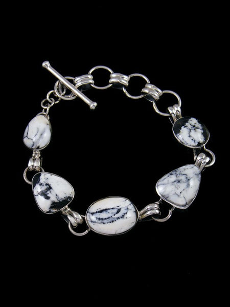 Native American Sterling Silver White Buffalo Link Bracelet