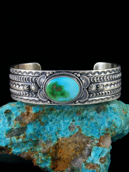 Large Native American Stamped Sonoran Gold Turquoise Cuff Bracelet