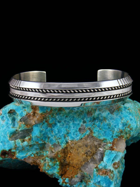 Native American Sterling Silver Twisted Rope Cuff Bracelet