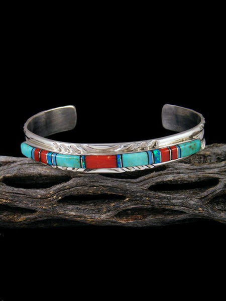 Native American Indian Inlay Turquoise and Coral Cuff Bracelet