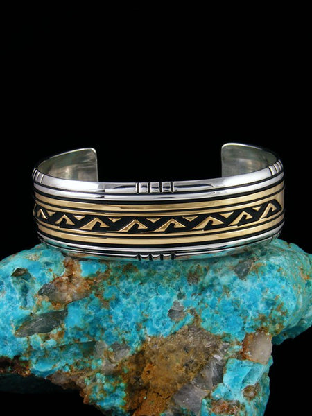 Native American Indian Jewelry Hand Crafted Gold and Silver Overlay Bracelet