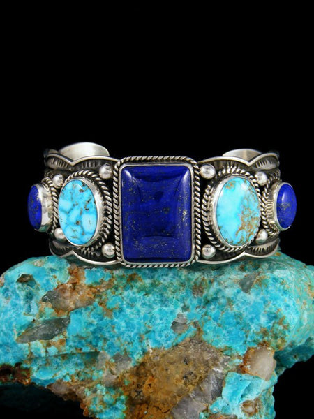 Native American Jewelry Sterling Silver Lapis and Turquoise Bracelet