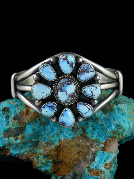 Natural Golden Hill Turquoise Cluster Sterling Silver Bracelet
