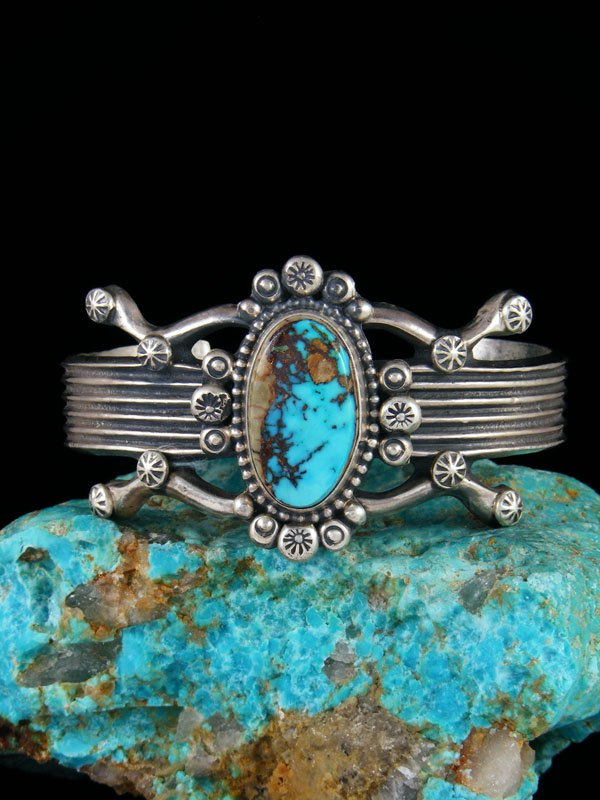 Native American Sterling Silver Sandcast Turquoise Bracelet