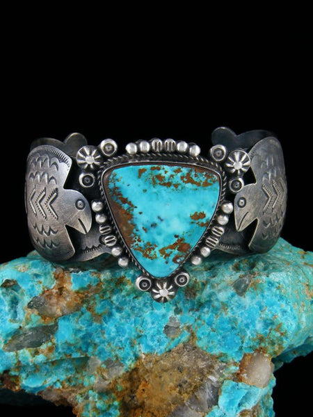 Native American Sterling Silver Thunderbird Turquoise Bracelet