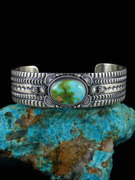 Native American Indian Stamped Sonoran Gold Turquoise Cuff Bracelet