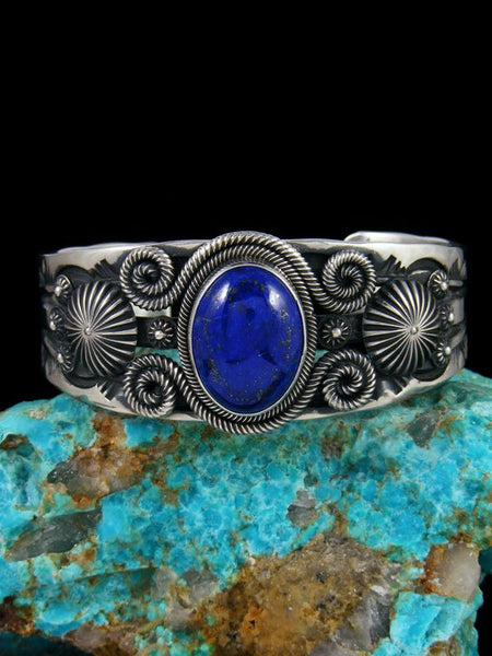 Native American Indian Jewelry Blue Lapis Cuff Bracelet