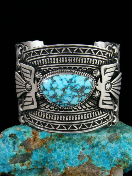 Native American Indian Jewelry Kingman Turquoise Thunderbird Cuff Bracelet