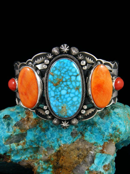 Native American Kingman Turquoise and Spiny Oyster Cuff Bracelet