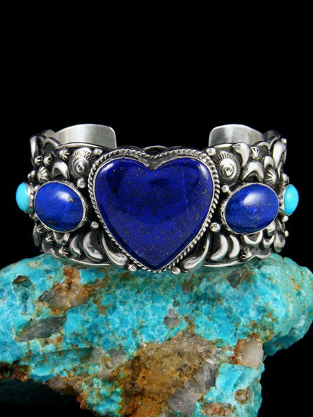 Native American Turquoise and Lapis Heart Cuff Bracelet