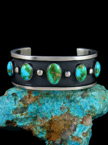 Native American Heavy Sonoran Gold Turquoise Cuff Bracelet
