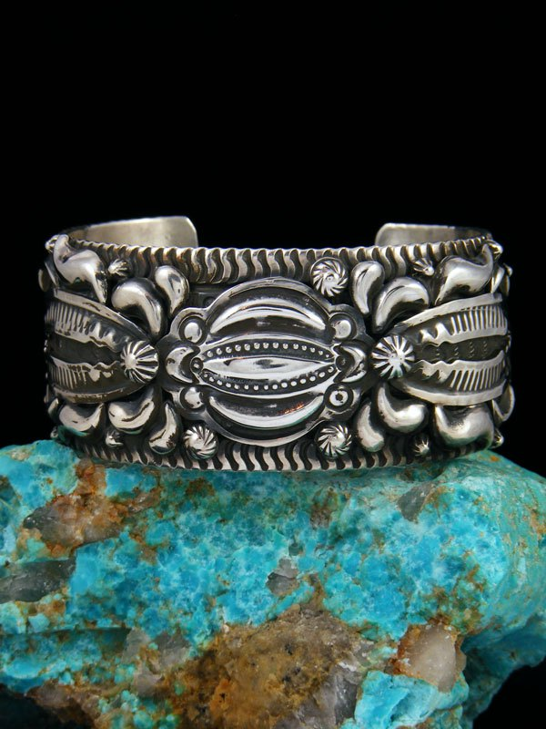 Native American Sterling Silver Heavy Cuff Bracelet