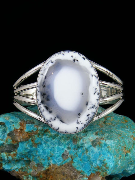 Native American Indian Jewelry Sterling Silver Dendritic Opal Bracelet