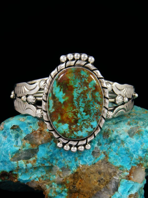 Native American Sterling Silver Kingman Turquoise Bracelet
