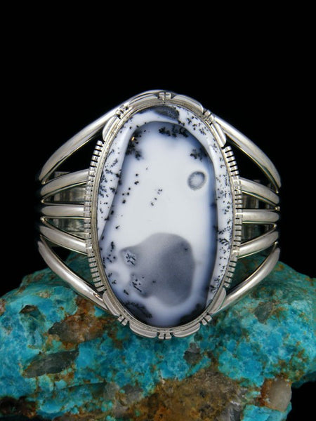 Native American Jewelry Large Dendritic Opal Cuff Bracelet