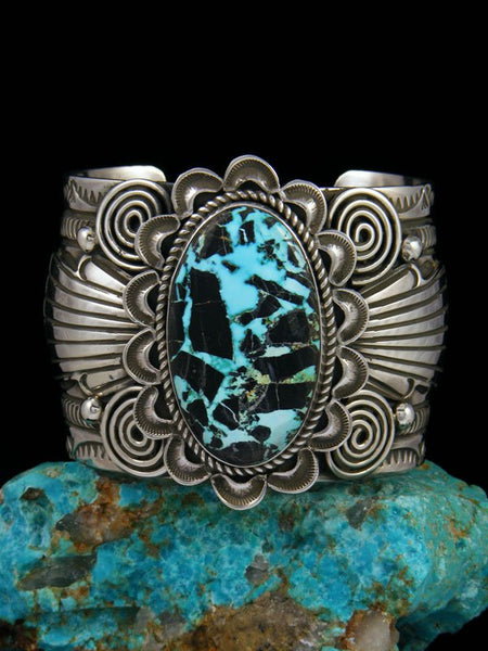 Navajo Sterling Silver Natural Blue Moon Turquoise Cuff Bracelet