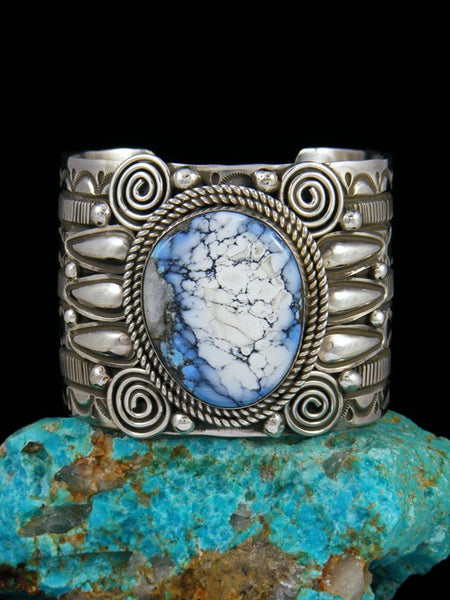 Navajo Sterling Silver Natural Wild Blue Cuff Bracelet