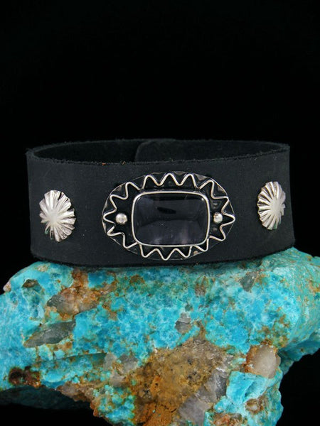 Native American Amethyst Leather Band Bracelet