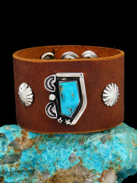 Native American Turquoise Leather Band Bracelet