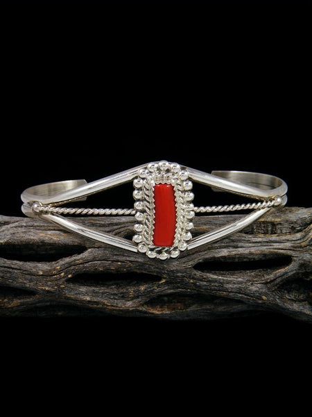 Native American Red Coral Sterling Silver Bracelet