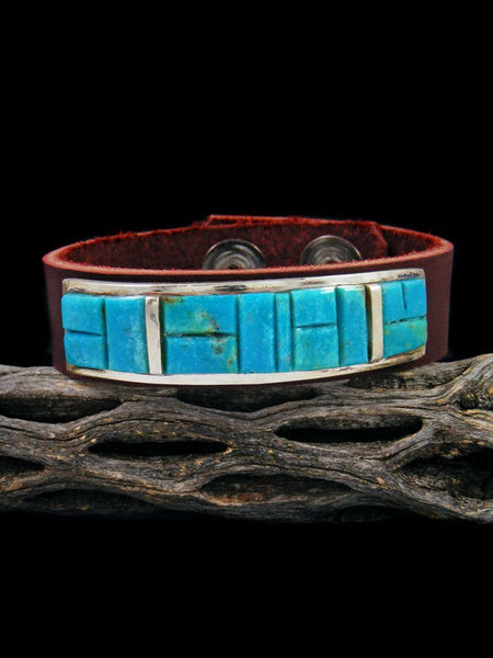 Native American Inlay Turquoise Leather Bracelet