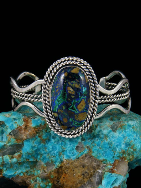 Native American Jewelry Azurite and Malachite Cuff Bracelet