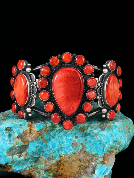 Native American Sterling Silver Spiny Oyster Cuff Bracelet