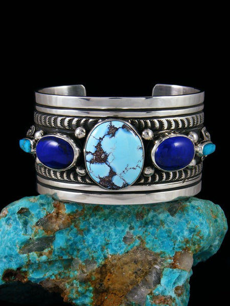 Native American Sterling Silver Lapis and Golden Hill Cuff Bracelet