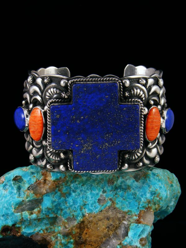 Native American Sterling Silver Lapis and Spiny Oyster Cuff Bracelet