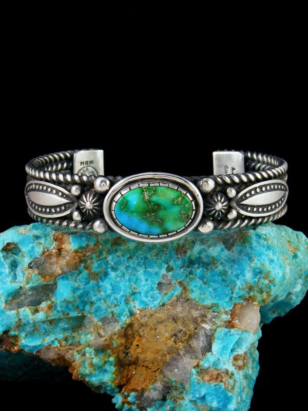 Navajo Jewelry Sterling Silver Sonoran Gold Turquoise Bracelet