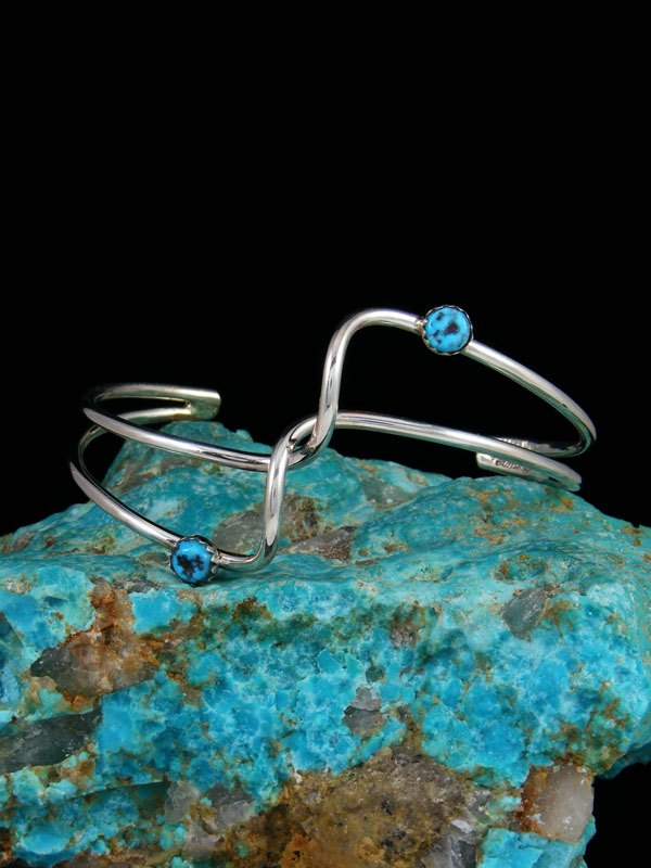Navajo Sterling Silver and Turquoise Double Wave Bracelet