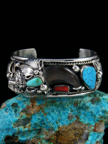 Native American Turquoise and Coral Bear Claw Cuff Bracelet