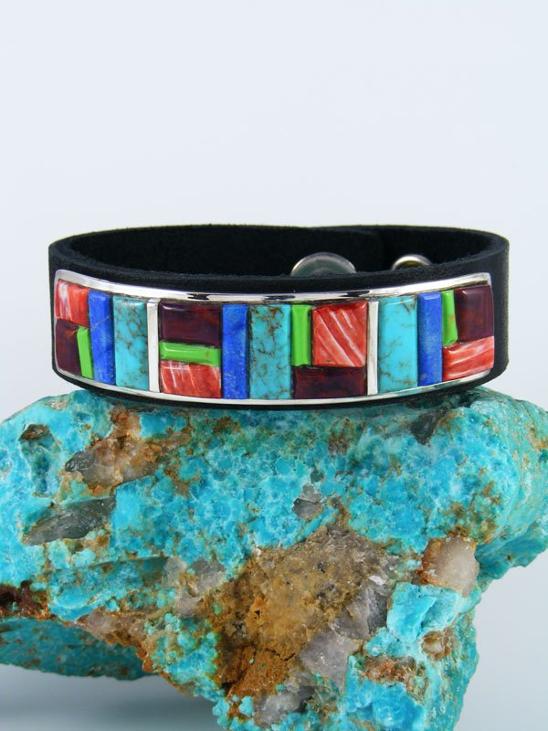 Native American Inlay Turquoise and Spiny Oyster Leather Bracelet