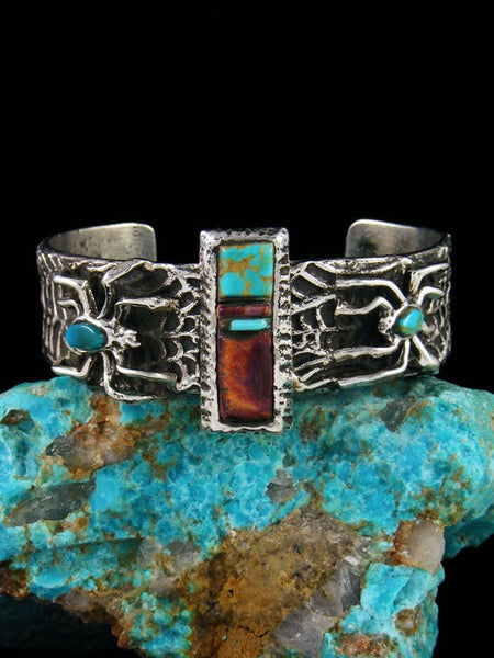 Navajo Tufa Cast Turquoise and Spiny Oyster Spider Bracelet