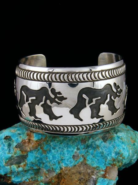 Native American Sterling Silver Overlay Bear Cuff Bracelet