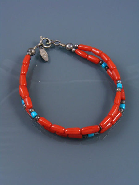 Native American Indian Jewelry Coral Beaded Bracelet