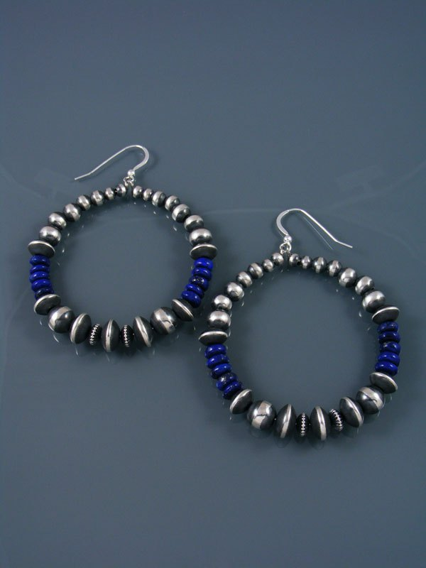 Navajo Lapis and Sterling Silver Beaded Dangle Earrings